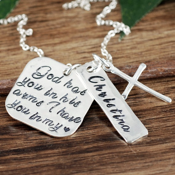 God has you in his arms, I have you in my Heart, Memorial Necklace, Remembrance Gift, Loss of Child, Parent Loss, Silver Cross Necklace