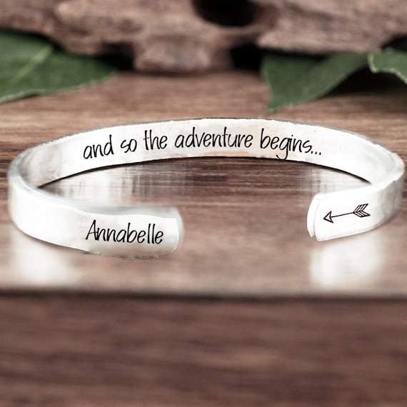 and so the adventure begins Cuff Bracelet, Personalized Graduation Bracelet, Graduation Gift, Inspirational Gift, Motivational gift