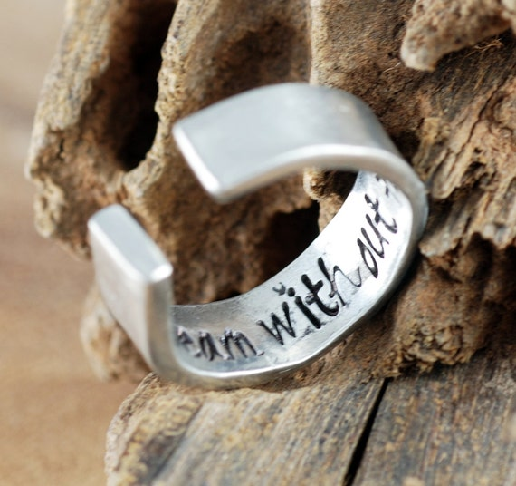 DreamCatcher Ring, Secret Message Ring, Personalized Pewter Ring, Boho Ring, Custom Cuff Ring, Bohemian Ring, Personalized Ring