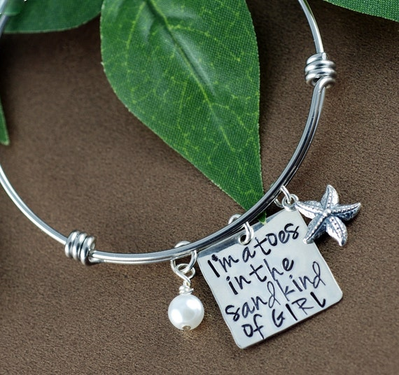 I'm a Toes in the Sand Bangle Bracelet   Beach Jewelry   Starfish Jewelry   Toes in the Sand kind of girl   Hand Stamped   Personalized