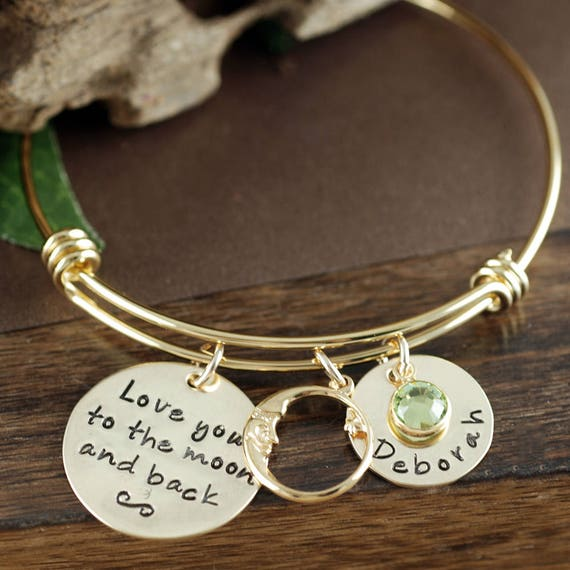 Love you to the moon and back Bracelet, Gold Bangle Charm Bracelet, Gold Name Bracelet, Moon and Back Bangle, Kids Names, Engraved Jewelry
