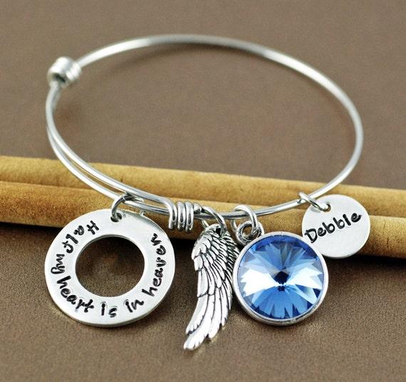 Half My Heart is In Heaven, Memorial Bangle Bracelet, Bereavement Jewelry, Hand Stamped Bracelet, Charm Bracelet