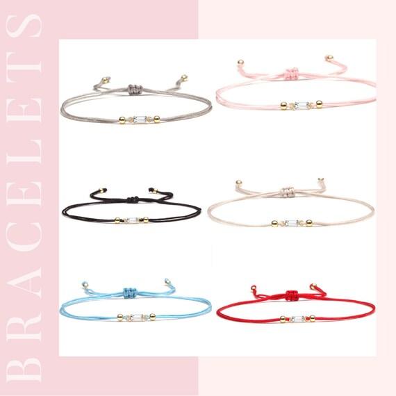 Mini Star Cubic Zirconia String Bracelet, String Cord Bracelet for Women, String Friendship Bracelet, Crystal Star Bracelet, Wax Bracelet