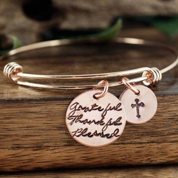 Grateful Thankful Blessed, Inspirational Gift, Faith Bracelet, Christmas Gift for Her, Gift for Mom, Meaningful Bracelet, Rose Gold Bracelet