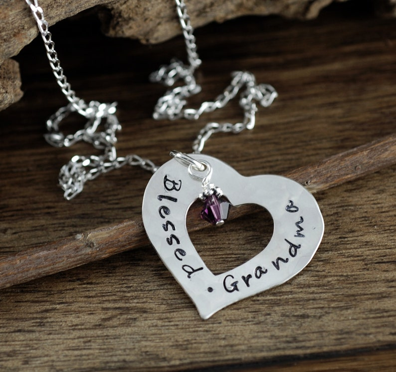 Grandmother Necklace Gift for Grandma Grandma Jewelry Hand Stamped Jewelry Blessed Grandma Personalized Silver Heart Necklace