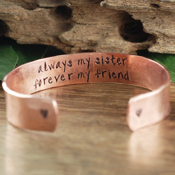 Always my Sister Forever My Friend, Personalized Sister Bracelet, Custom Cuff Bracelet, Gift for Sister, Made fo Honor Gift, Bridesmaid Gift