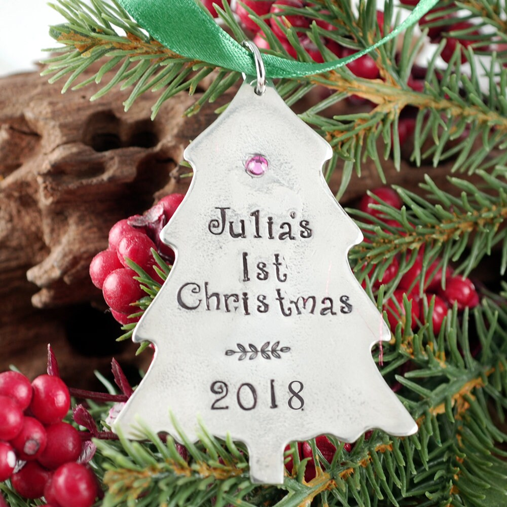 Baby\'s First Christmas Ornament, Christmas Tree Ornament, Engraved ...