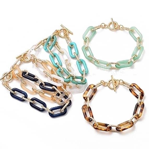 Large Link Bracelet, Acrylic Link Bracelet, Paperclip Chain Bracelet, Large Paperclip Bracelet, Leopard Link Bracelet, Chunky Link Bracelet