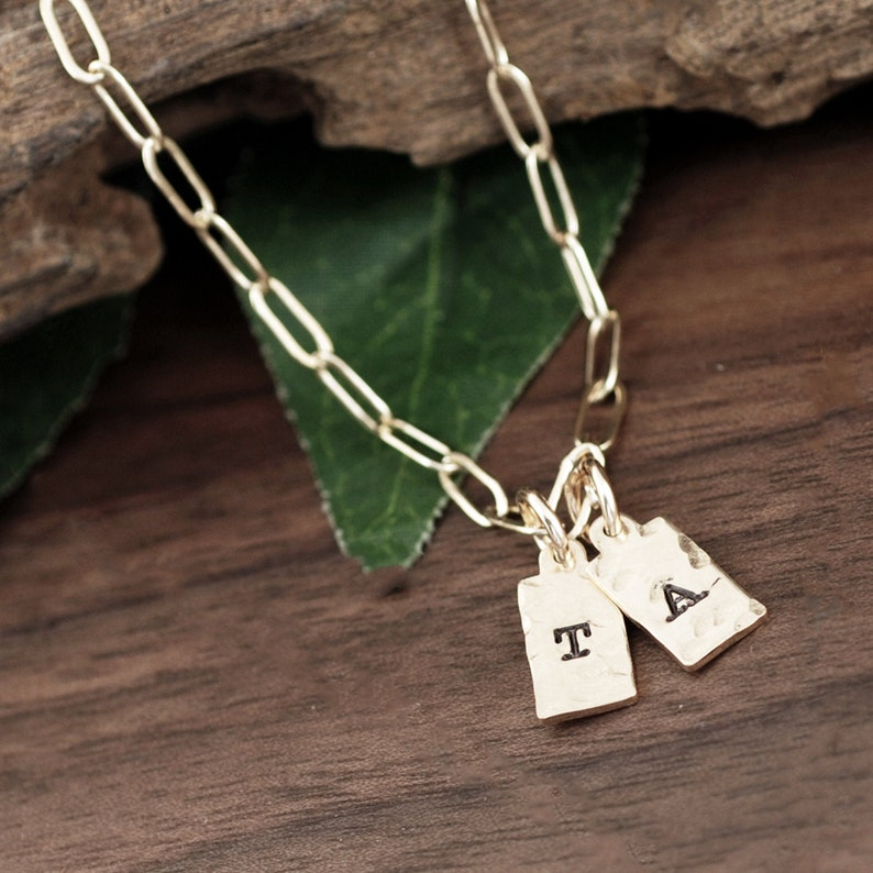 Tiny Tag Initial Necklace Personalized Necklace Tag Initial image 0