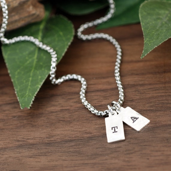 Mini Tag Initial Necklace, Personalized Necklace, 1, 2, or 3 Initial Necklace, Delicate Necklace, Layering Necklace, Initial Necklaces