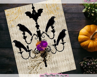 Printable Vintage Halloween Chandelier of Raven Wall Art Digital Print, 8x10, Edgar Allan Poe, Goth, Witch Decor, Sign, DIY home decor,