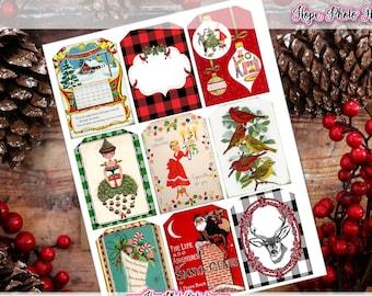 Printable Christmas Tags, Retro 1950s, Vintage, DIY, junk journal, scrapbooking, gift tags, reindeer, embellishment, ornament, labels