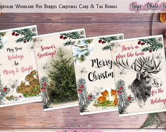 Printable Christmas Card, Bundle, Woodland Red Berries Collage Sheet, w/ Matching Gift Tags, Substainable, DIY Card Making, Fox, Moose, Deer