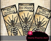 Bee Positive Inspirational Aged Stained Vintage 1x2 Digital Collage Sheet- queen bee charmer tags glass tile domino - U print sh38