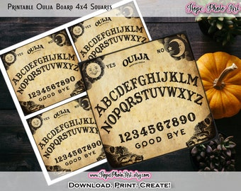 Printable Vintage Halloween Ouija Board 4x4 Inch Squares, Coasters, Witch Decor, Fortune Telling, DIY Card Making, Gift Tags, Decoupage