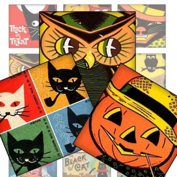 Printable Retro Halloween Owls Pumpkins Black Cats 2x2 Digital Collage  Sheet decoupage mini cards jewelry magnets glass resin scrapbooking