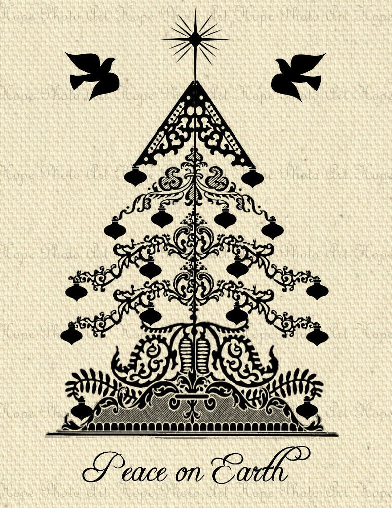 Printable Peace On Earth Victorian Christmas Tree Digital Collage Sheet Iron on Transfer scrapbooking paper backgrounds journal doves