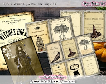 Printable Vintage Halloween Witch Dream Book Junk Journal Kit, Scrapbooking, Journal Cards, Tarot, Fortune Telling, Gypsy, Witch Decor