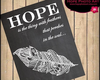 Hope is the Thing with Feathers Chalkboard Digital Collage Sheet 8x10 Wall Art Printable Image Transfer  UPrint 300jpg