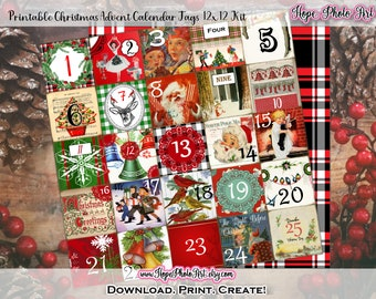 Printable Vintage Christmas 1950s Retro Advent Calendar Collage Sheet, 12x12 Journal Kit, Tags, Scrapbooking, DIY, Substainable, Countdown