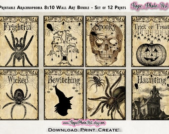 Printable Halloween 8x10 Prints, Set of 12, MEGA Wall Art BUNDLE, Spiders, Skulls, Raven, Haunted House, Witch Decor, DIY Halloween, sign