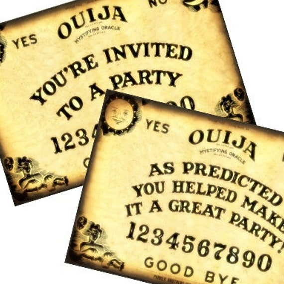 photo about Ouija Board Printable identify Printable Fill within the Blank Ouija Board Social gathering Halloween Invitation Thank Yourself Postcard 4x6 Electronic Collage Sheet sbooking greeting playing cards