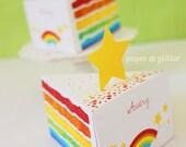 Rainbow Paper Cake Slice favor baking party box printables - Editable Text Printable PDF 1051