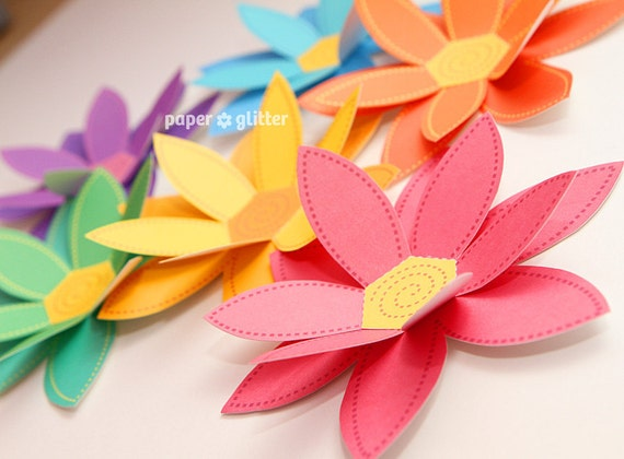 Paper Flowers Rainbow Paper Craft Set 2 Sizes Printable Etsy