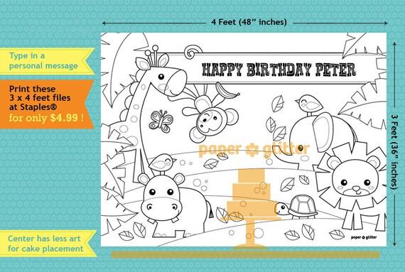 Jungla Safari Fiesta Decoración Para Imprimir O Para Colorear Hoja De Telón De Fondo Para Imprimir Pared Decoración 3 X 4 Pies Editables Texto