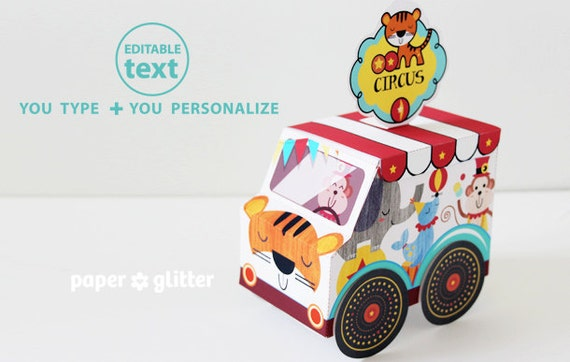 Carnival Toy Box Pink: Circus Carnival Truck Van Favor Box Paper Toy Printable