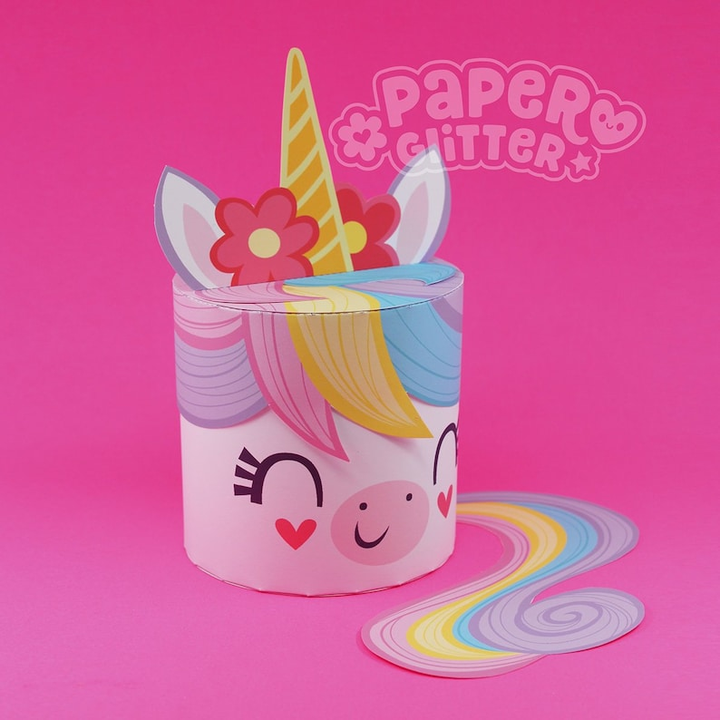 Printable Kawaii Rainbow Unicorn Party Favor Paper Craft Pdf Etsy