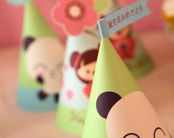 Panda Cherry Blossom Japanese Kawaii Love Birthday Party Kit-Printable PDF Complete Set 0006