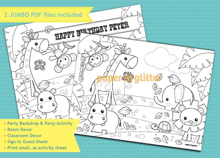 Jungla Safari fiesta decoración para imprimir o para colorear | Etsy