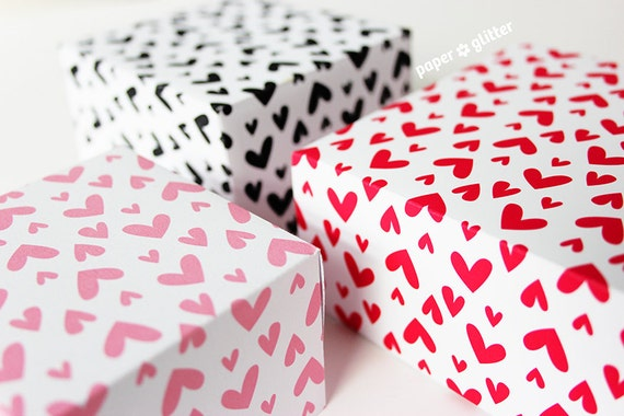Valentine Hearts Printable Gift Wrapping Paper Or Book Cover Etsy