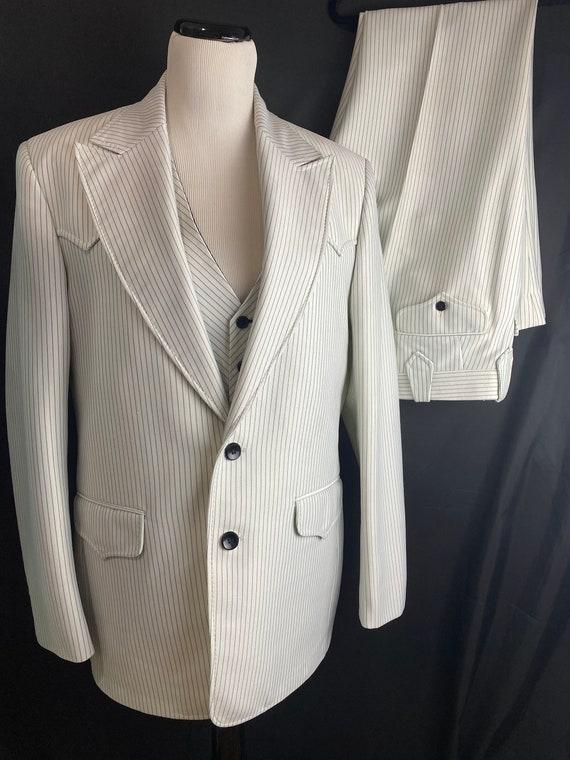 1970's LASSO Western Wear White Pinstripe 3 Pc Sui