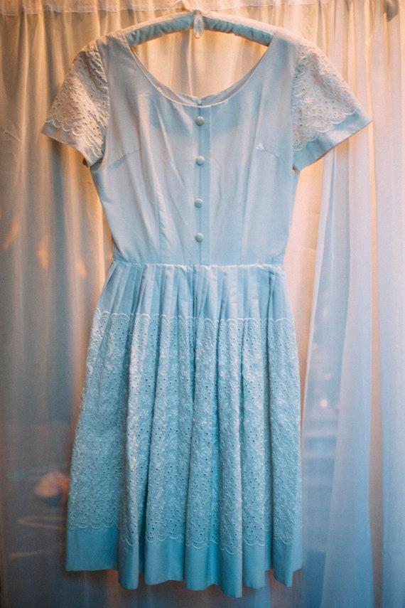 1950s Light Blue Floral Day Dress