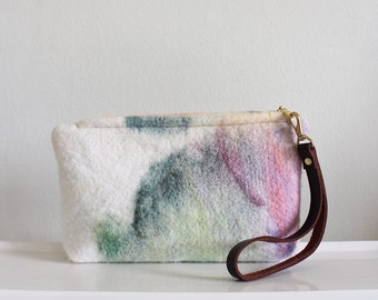 Wool Clutch, felted wool clutch, small purse, watercolor design, Leather wrist strap