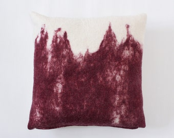 Large Super Soft Felted Merino Wool Pillow Cover, Wine Red