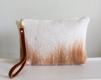 Wool Clutch, felted wool clutch, small purse, color fade design, Leather wrist strap