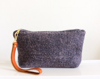 Wool Clutch, felted wool clutch, small purse, heather gray with mustard, heather navy with salmon, Leather wrist strap