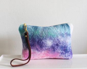Wool Clutch, felted wool clutch, small purse, tie-dye effect, Leather wrist strap