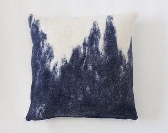 Large Super Soft Felted Merino Wool Pillow Cover, Navy Blue