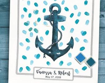 Nautical wedding guest book alternatives, guestbook poster, anchor wedding guest book print, destination wedding, island wedding keepsake