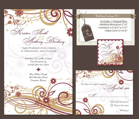 items similar to digital wedding invitation package diy