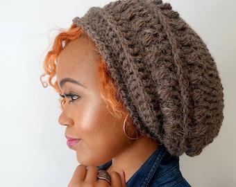 Slouchy Bobble Beanie Winter Hat Womens Hat Alpaca Wool Beanie Cap Handmade - Woodsy Brown or CHOOSE color