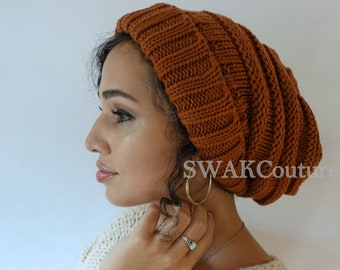 Satin Lined Beanie Carmen Beanie Thick Stretch Cotton Wool Blend Knit Beanie  Cap - Rust or Choose Your color 27d601ced857