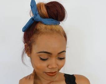BUN WIRE Wrap Messy Bun Headband Wrap Denim Blue Bun Wrap PonyTail Braid Ins - Choose Color