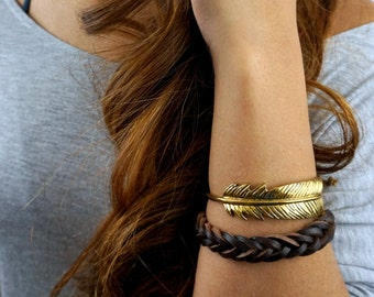 Feather Cuff Bracelet, Bohemian Wrap Bracelet, Stackable Gold Patina Bracelet, Adjustable Bracelet, Boho Gift for Her