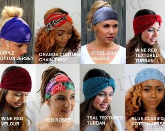 6c74828f6e6 Wide Headband Head Wrap Yoga Headband CHOOSE Any TWO Coachella Turban  Headband Set Jersey Cotton Headband Chiffon - 40 Color Options