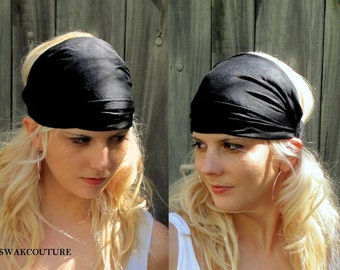 Black Wide Headband Wrap Womens Headband Yoga Head Wrap Head Scarf Cotton  Jersey fitness Head Wrap - Choose Your Color e036eec3a30